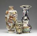Three pieces of japanese ceramic 19th20th c imari vase with gold highlights and two satsuma vases tallest 16