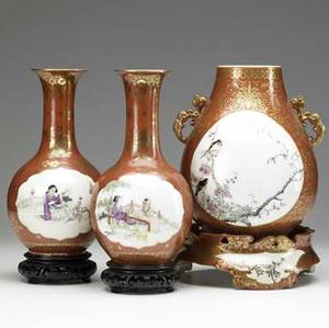 Three japanese kutani vases 19th c urnshaped vase on base together with a pair of gourdshaped vases tallest 12