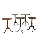 Five english candlestands in mixed woods and styles 19th c 20 12 x 15 34 x 27 12