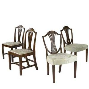 Two pairs of english hepplewhite side chairs all in mahogany ca 17801800 larger 30 x 18 x 20