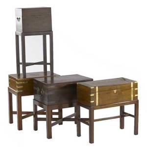 Three english lap desks together with one bottle box all 19th c largest 20 x 19 x 12 14
