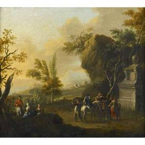 Pair of italian pastoral scenes 18th c both oil on canvas framed 11 x 13 each