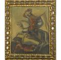 Spanish colonial style painting of the cuzco school 20th c untitled gentleman on horseback oil on canvas in gilded frame 16 x 13