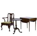 Three pieces of furniture 19th20th c pembroke mahogany drop leaf table pie crust tilt top table and english queen anne armchair drop leaf table 28 12 x 33 x 21 14