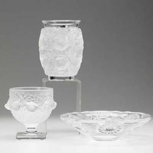 Three pieces of lalique in frosted and clear glass late 20th c bowl with flowers pedestaled candy dish and vase all signed lalique france largest 9 12 x 2 12