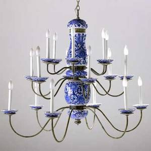 Porcelain and wrought iron chandelier 20th c eighteenarm three tiers with blue and white porcelain shaft and cups 34 12 x 40