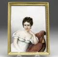 French painting on porcelain 19th c depicting mme recamier with gilt decorated border initialed amb dated 1880 5 14 x 6 78