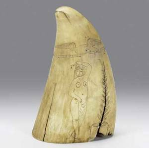 Scrimshaw on whales tooth 19th c depicting the sailing ship canada on one side and nude woman on reverse with eagles and banners 5