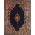 Sarouk oriental rug 20th c blue center medallion with floral border 105 x 142