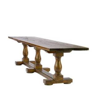 Custom made oak topped dining table on stretcher base 20th c 27 12 x 121 34 x 28