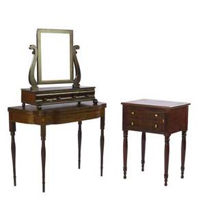 Furniture grouping including sheraton style card table empire shaving mirror and two drawer mahogany work table card table 29 x 37 x 18 12