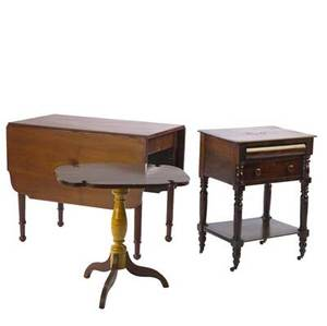 Furniture grouping including two drawer empire worktable mahogany drop leaf table and a tilt top candlestand with curly maple base 19th c largest 29 x 36 12 x 22 14