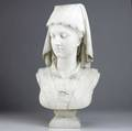 Marble bust of a woman in lace bordered head scarf late 19thearly 20th c probably italian 24