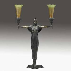 Deco bronze lamp 20th c signed picault pair of art glass shades replaced lamp 18
