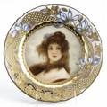 Royal vienna handpainted portrait plate with gilt floral decoration early 20th c titled carmen artist signed wagner beehive mark 9 12 dia
