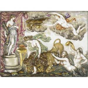 Capodimonte plaque late 19thearly 20th c mythological female figures with lions framed marked 12 34 x 16 34