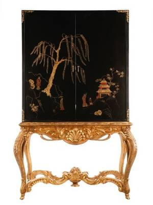 Rococo Style Entertainment Cabinet on Stand
