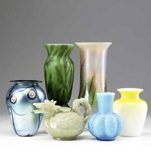 Six pieces of art glass 19th20th c two victorian satin glass vases contemporary lundberg studios vase two other contemporary vases together with an asian hardstone carving of a dragon tallest