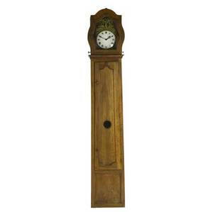 Country french grandfather clock 19th c in walnut case with a time and strike movement 94 x 17 x 11