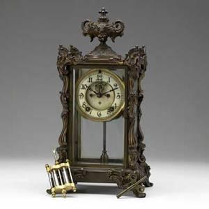 Ansonia crystal regulator shelf clock ca 1900 open escapement time and strike movement 16