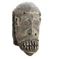 Ibo mask nigeria carved wood mask with agressive facial features well worn and weathered suggesting field use provenance steve tobin pennsylvania 15