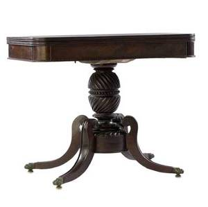 Federal games table in mahogany 19th c 20 14 x 35 x 17 14
