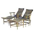 Pair of rattan chaises with adjustable backs early 20th c 36 12 x 30 x 71 14