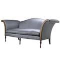 Camelback sofa ca 1980 sheraton style with mahogany frame and silk upholstery 84 x 42 x 30