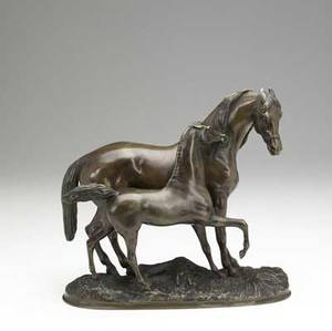 Pj mene french 18101877 bronze group mare and foal late 19thearly 20th c signed mene 12