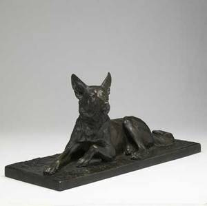 Charles paillet french 18711937 bronze sculpture of a german shepherd 12