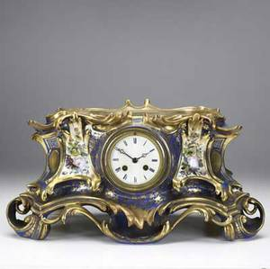 Sevres porcelain clock 19th c french blue and gold decorated time and strike movement 9 12