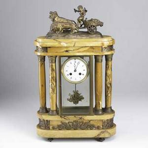 French marble column clock 19th c figural chariot figure on top time and strike movement 22