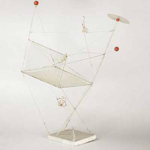Wolfgang roth german 19101988 highwire ca 1975 mixed media painted steel and wood 46 12 high provenance james a michener art museum doylestown pa