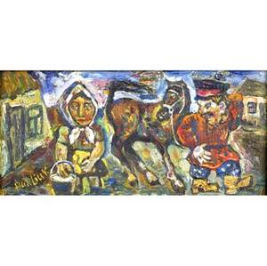 David burliuk ukrainianamerican 18821967 kozak woman with horse oil on canvas framed signed 6 x 12 provenance private collection