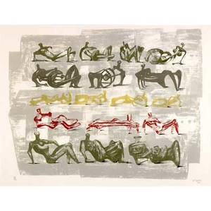 Henry moore british 18981986 seventeen reclining figures 1963 lithograph in colors framed signed dated and numbered 1575 21 34 x 28 78 sight literature cramer 47 provenance priva