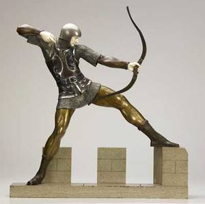 Pierre le faguays french 18921925 archer tireur l arc bronze with brown and silver patinas and ivory on marble base signed le faguays on marble base 26 x 23 34 x 5 12 provenance pri