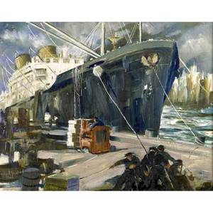 John r grabach american 18861981 loading the freighter oil on board framed signed 8 x 10 18 exhibition thumbbox exhibition salmagundi club new york partial label on verso proven