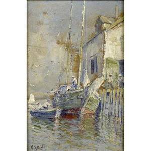 Arthur vidal diehl american 18701929 untitled wharf scene oil on board framed signed 9 12 x 6 12 provenance private collection pennsylvania