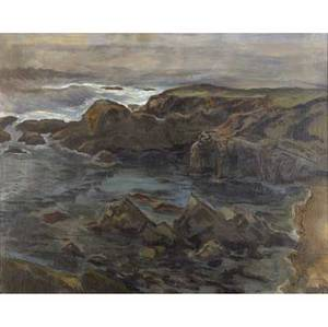Henry varnum poor american 18881970 the dark cove oil on canvas mounted on board framed signed 24 x 30 provenance charles and ruth stone nephew of henry varnum poor west valley art mus