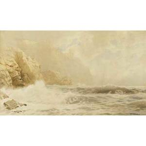 William trost richards american 18331905 carrigan head ireland 1891 watercolor on paper framed signed and dated 14 18 x 24 18 sight provenance private collection new york