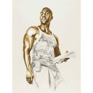 Kehinde wiley american b 1977 elkannah watsons study from passingposing series 2005 graphite and oil wash on paper framed signed and dated 28 78 x 21 38 sight provenance private co