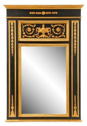 Large Empire Style Ebonized And Giltwood Mirror