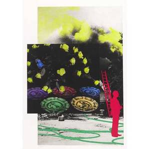 John baldessari american b 1931 to insert person and ladder redhosesmoke flowers and plates blue hope 1991 lithograph in colors framed signed dated and numbered 825 27 12 x 19