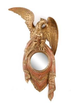 Small Empire Style Parcel Gilt Mirror with Eagle