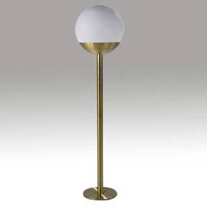 Luci italy floor lamp with spherical white glass shade mounted on a spun brass base 63 x 14