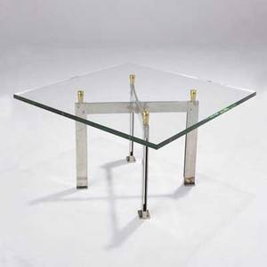 Jacques quinet coffeeside table with plate glass top on chromed steel base with polished brass connectors stamped q 18 14 x 30 sq