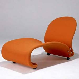 Verner panton lounge chair with orange wool upholstery on ebonized ball feet 28 14 x 23 12 x 42 12