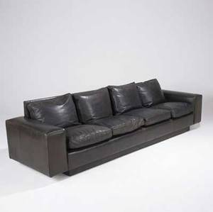 Jean michel frank  comte attr fourseat sofa completely covered in dark brown leather 30 x 118 12 x 33 14