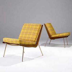 Peter hvidt pair of boomerang lounge chairs with teak and brass frames and plaidupholstered fabric cushions marked with danish control metal tag 30 x 23 12 x 25 12