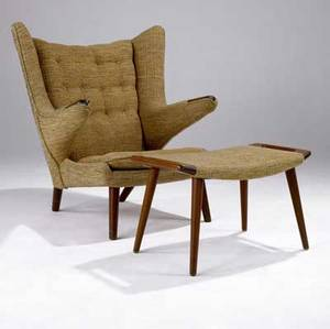 Hans wegner  ap stolen papa bear chair and matching ottoman in teak with tweed upholstery in shades of orange and green chair 39 12 x 36 x 37